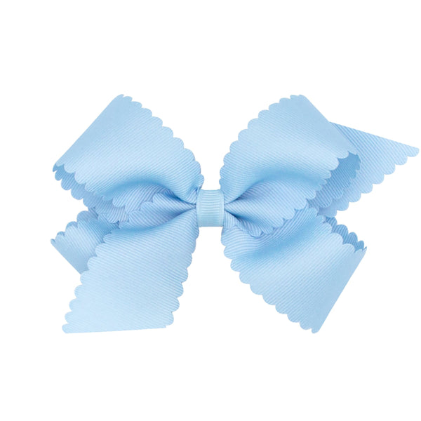 medium scallop hair bow light blue weeones bows