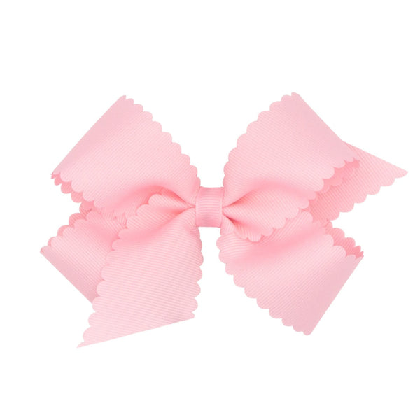 medium scallop hair bow light pink weeones bows