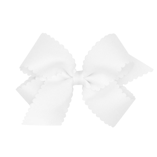 medium scallop hair bow white