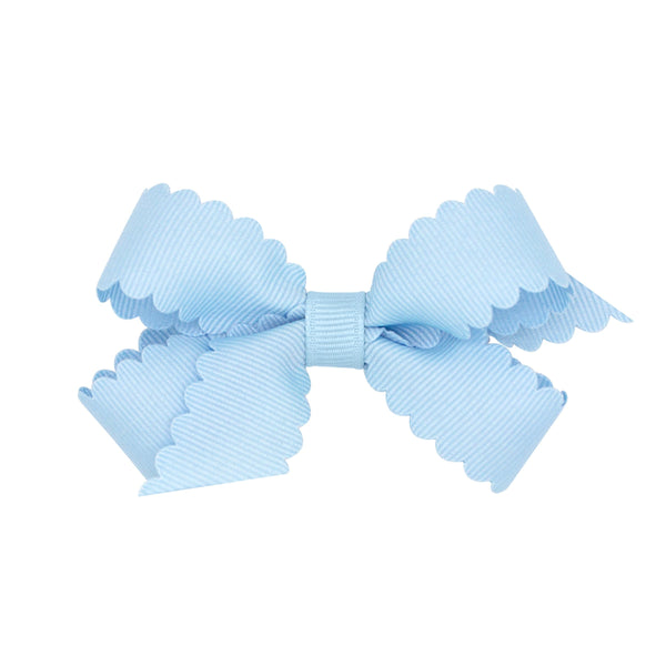 mini scallop hair bow light blue wee ones bows