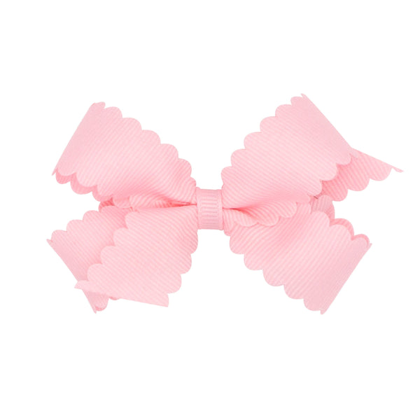 mini scallop hair bow light pink wee ones bows
