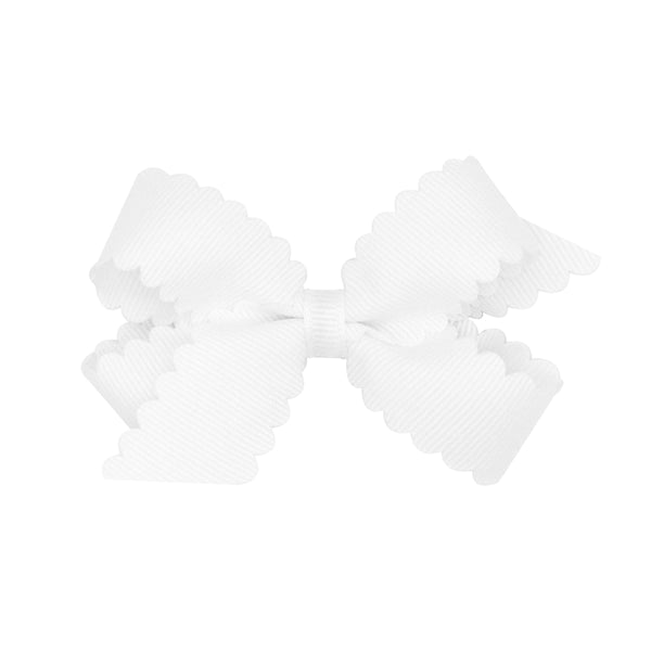 Mini Scallop Hair Bow - White
