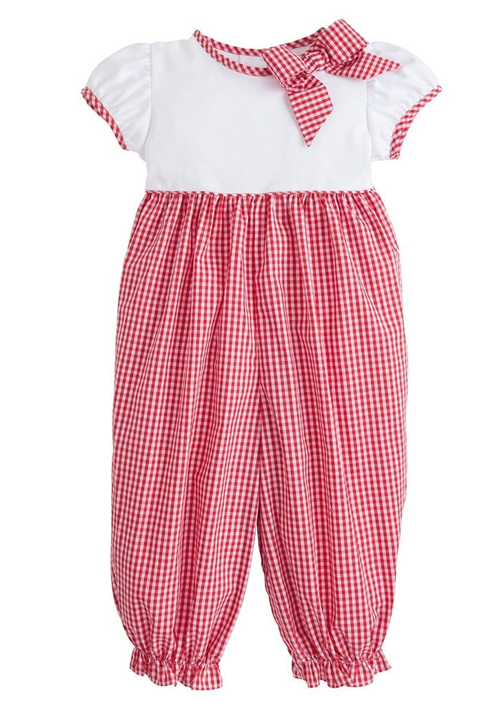 little english classic girls gingham romper