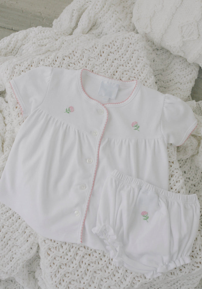 Pinpoint Layette Knit Set-Flowers, Little English, Little English, classic children's clothing, preppy children's clothing, little English clothing, classic baby clothing, traditional children's clothing, children's clothing, baby clothing