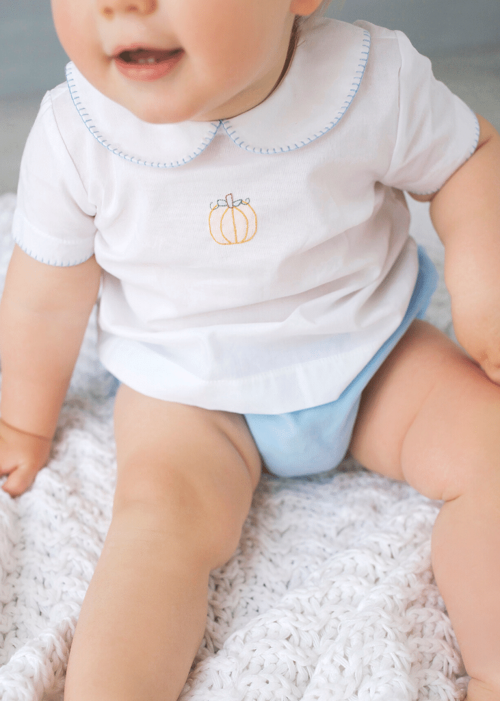 babyboys pumpkin whipstitch day shirt and light blue corduroy diaper cover