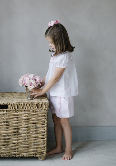 Ruffled Tea Blouse, Little English, classic children's clothing, preppy children's clothing, traditional children's clothing, classic baby clothing, traditional baby clothing