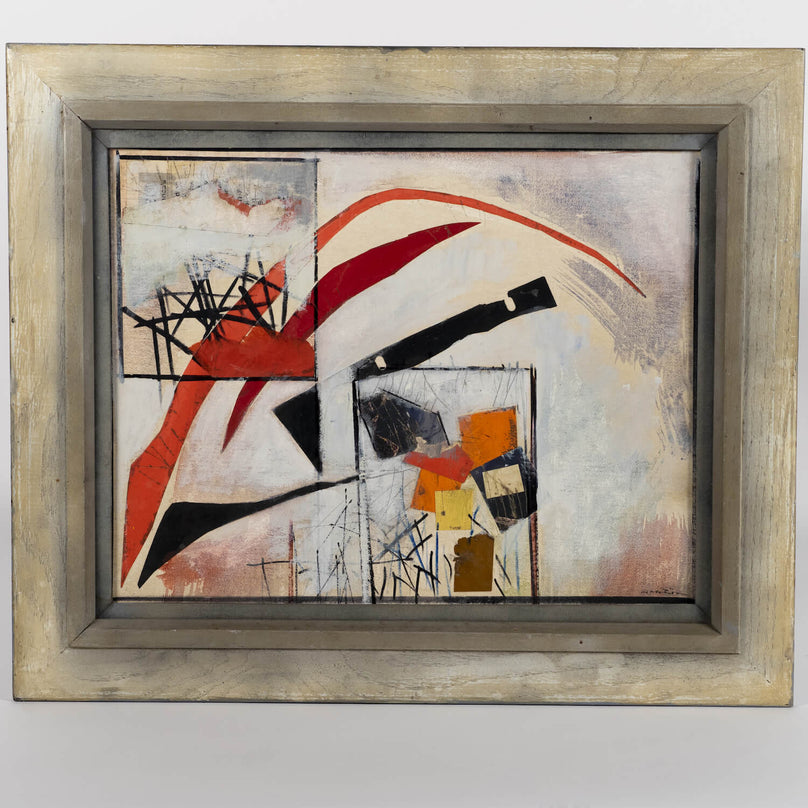Ronald Gustin Ahlstrom Abstract Collage Painting Red Black Grey, circa 1970