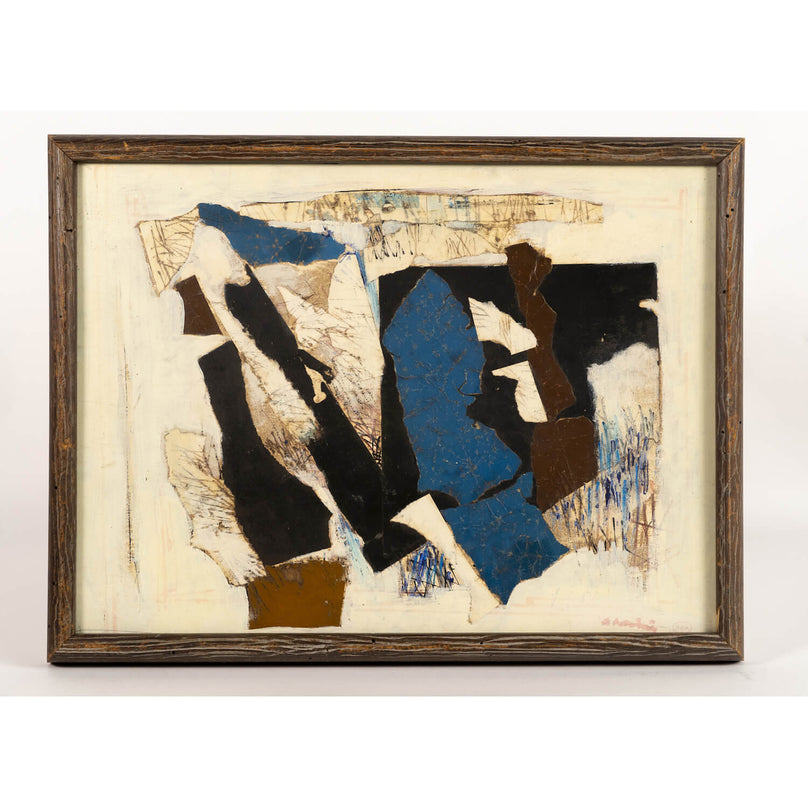 Mixed Media Collage By Ronald Gustin Ahlstrom, Circa 1970