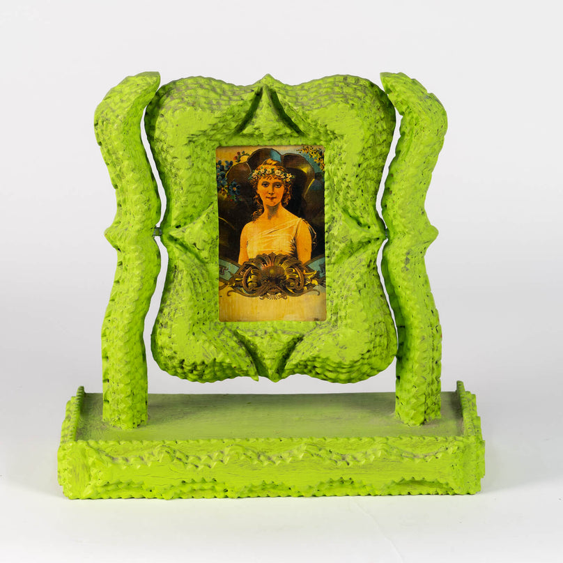 Tramp Art Frame With Print Of Frieda Kalho, Circa 1900