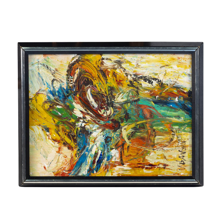 Abstract Acrylic Painting, Circa 1970, Signed V. Gabor
