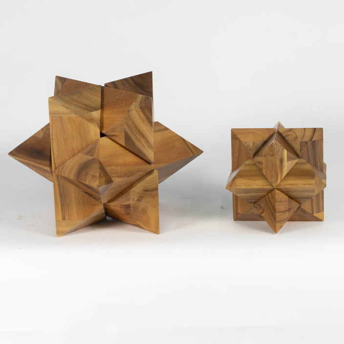 Pair Of Mango Wood Puzzles, Contemporary