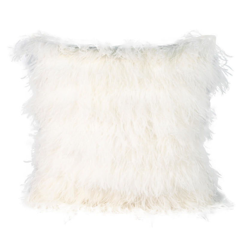 Ivory Ostrich Feather Pillow
