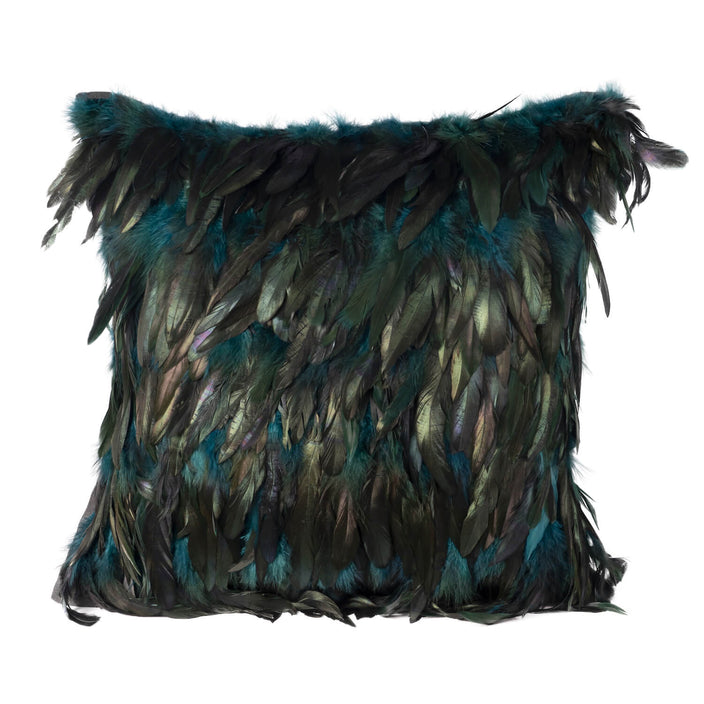 Peacock And Turquoise Rooster Feather Pillow