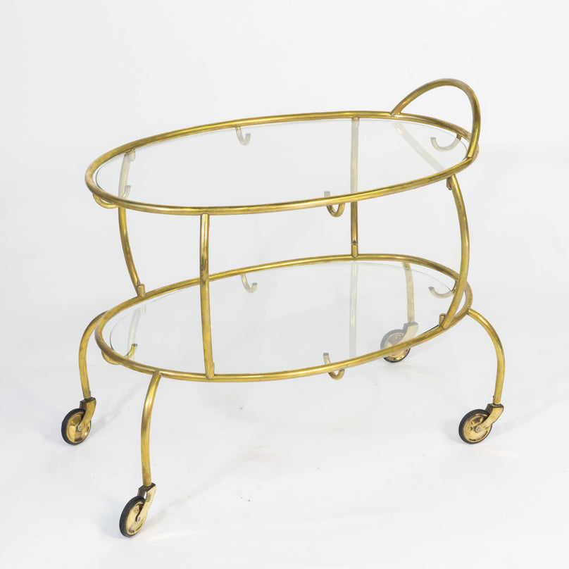 Italian Bar Cart In Brass, Circa 1950