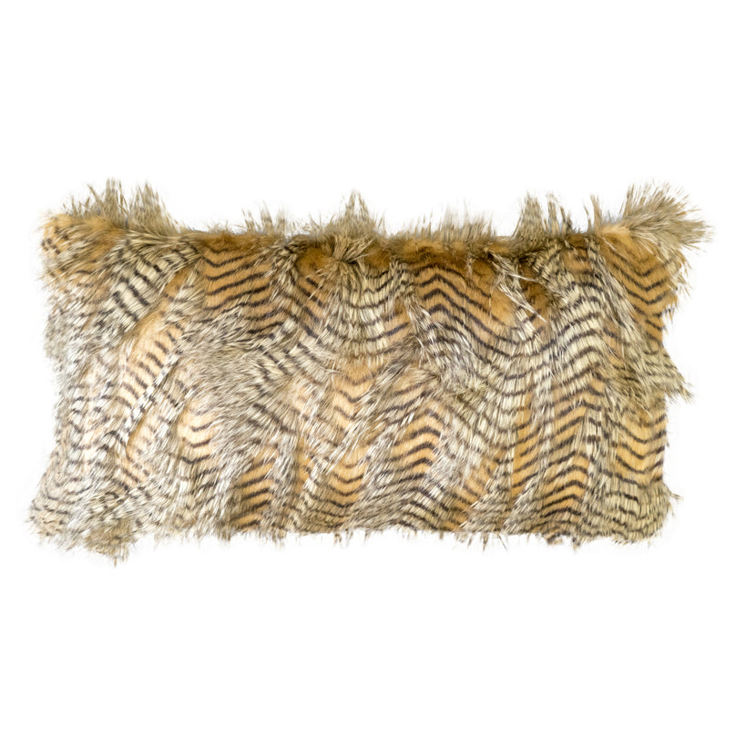 Feathers Faux Fur Lumbar Pillow