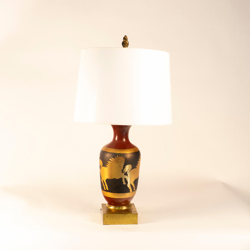 Pair Of Ceramic Horse Motif Table Lamps, Circa 1950, Italian
