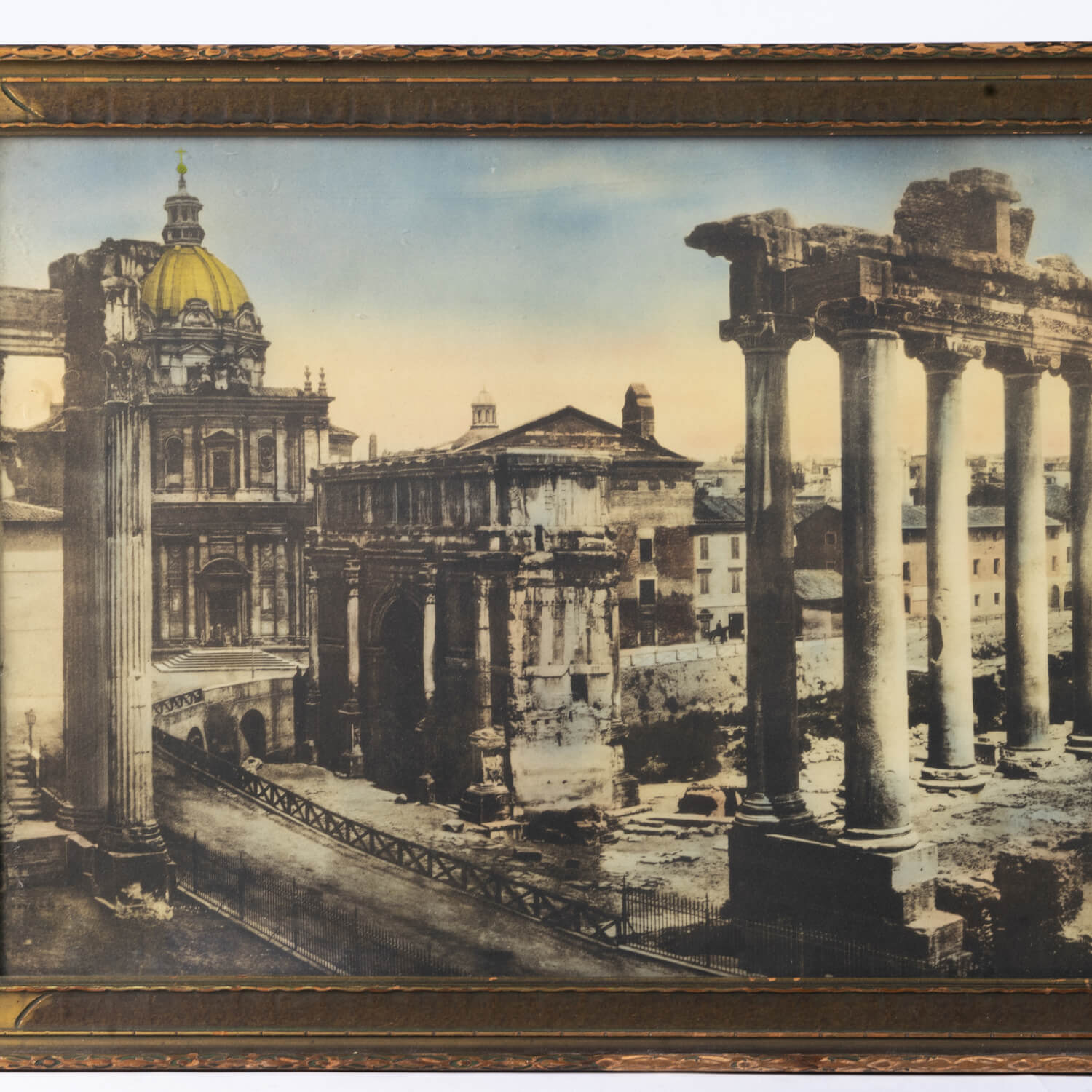 Grand Tour Hand Colored Photograph Of Roman Ruins, Circa 1910