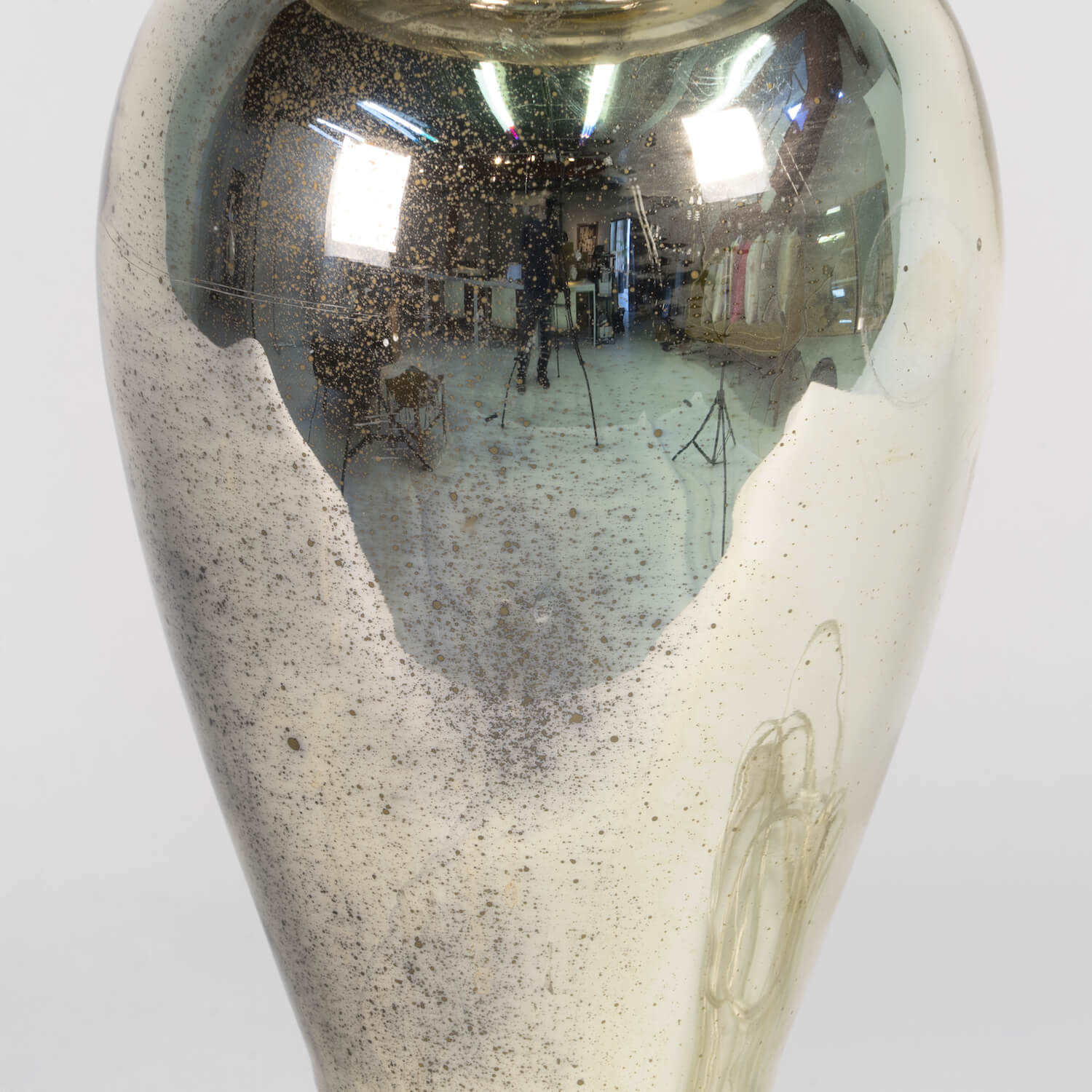 Mercury Glass Lamp With Tole Shade, Circa 1940
