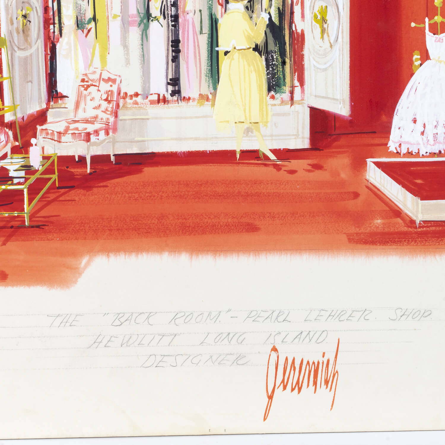 "Interior Illustration, Circa 1970, Signed ""Jeremiah"""