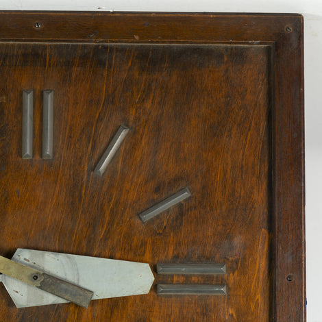 Wood Framed With Metal Accents Mid-Century Wall Clock