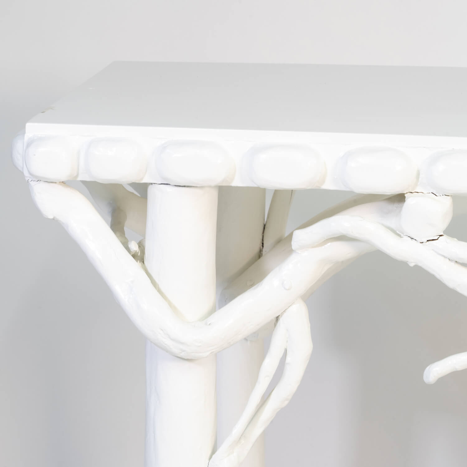 White Lacquered Root Console