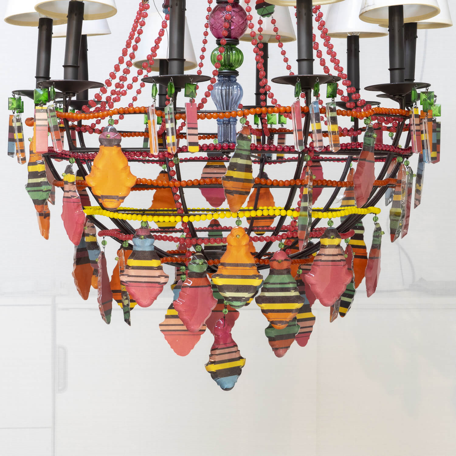 Chandelier With Striped Prisms - Two Available