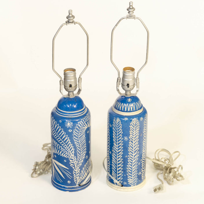 Pair Of Wayland Gregory Blue Lamps
