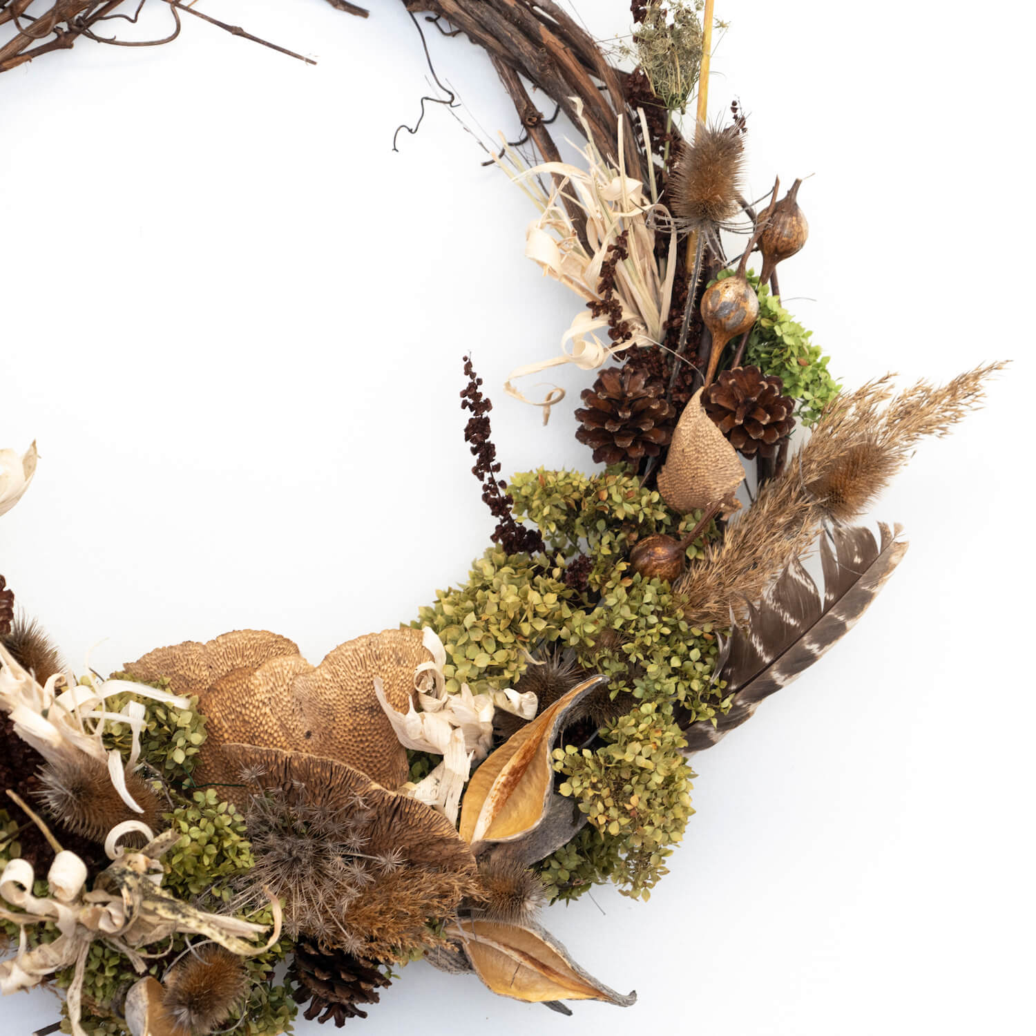 Grapevine Wreath - Mustard Sage