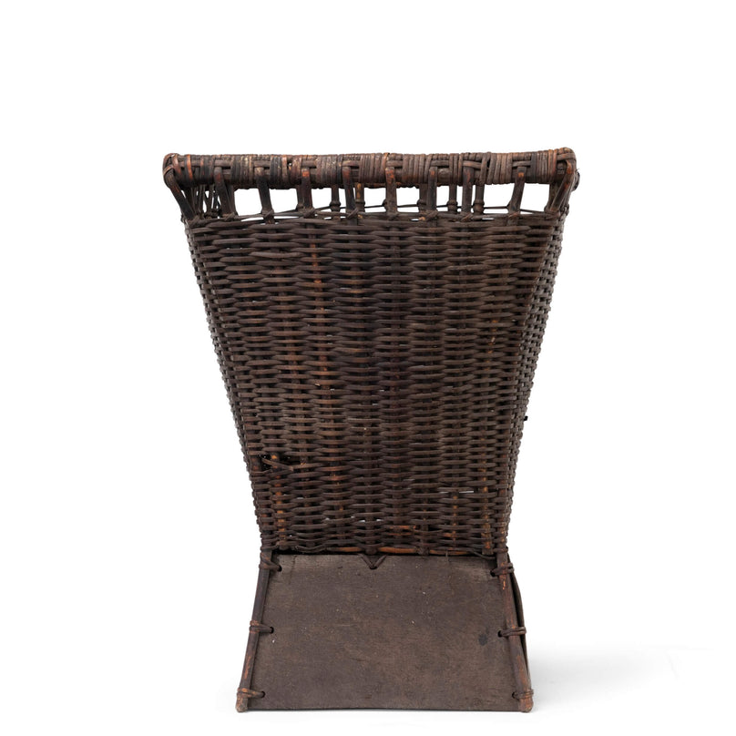 Large Square Footed Antique Basket