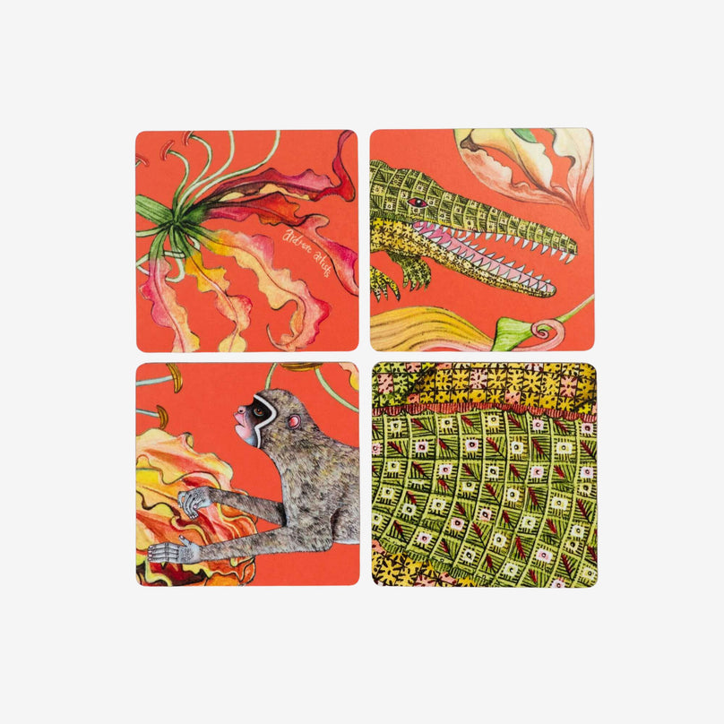Flame Lily Crocodile Coaster - Set/4