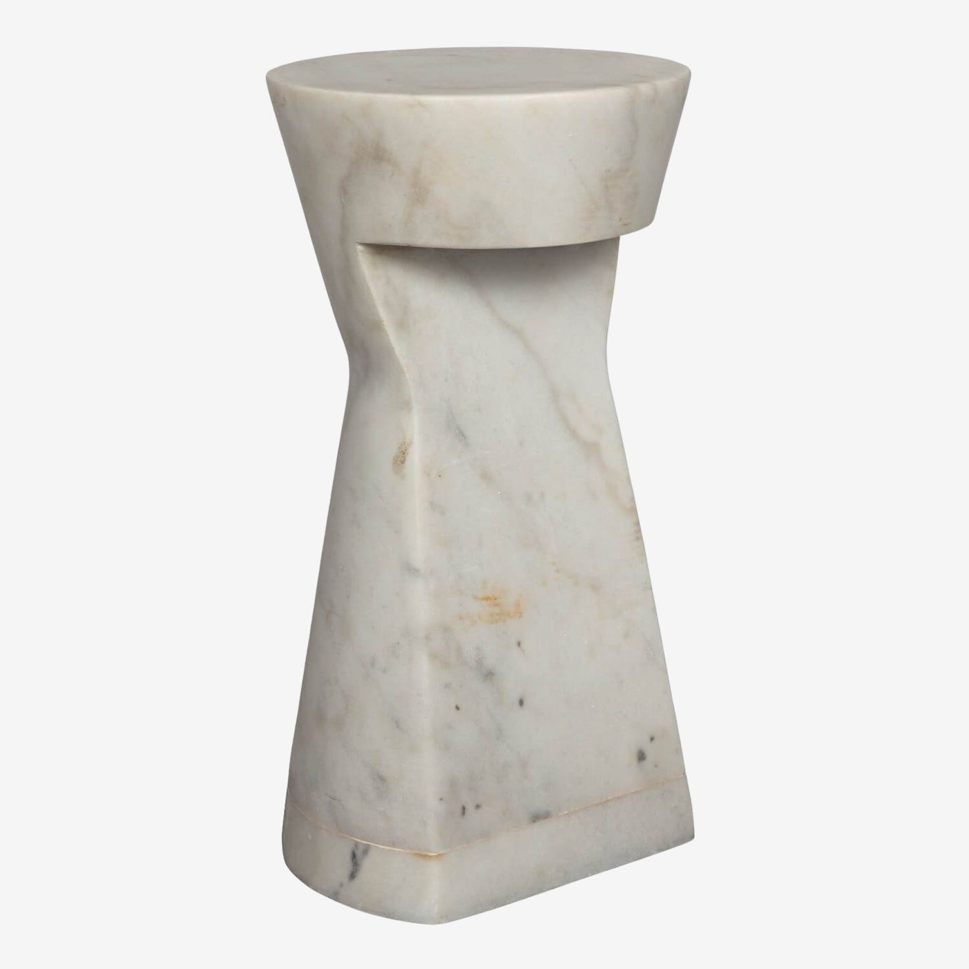 Dominique Side Table, White Stone