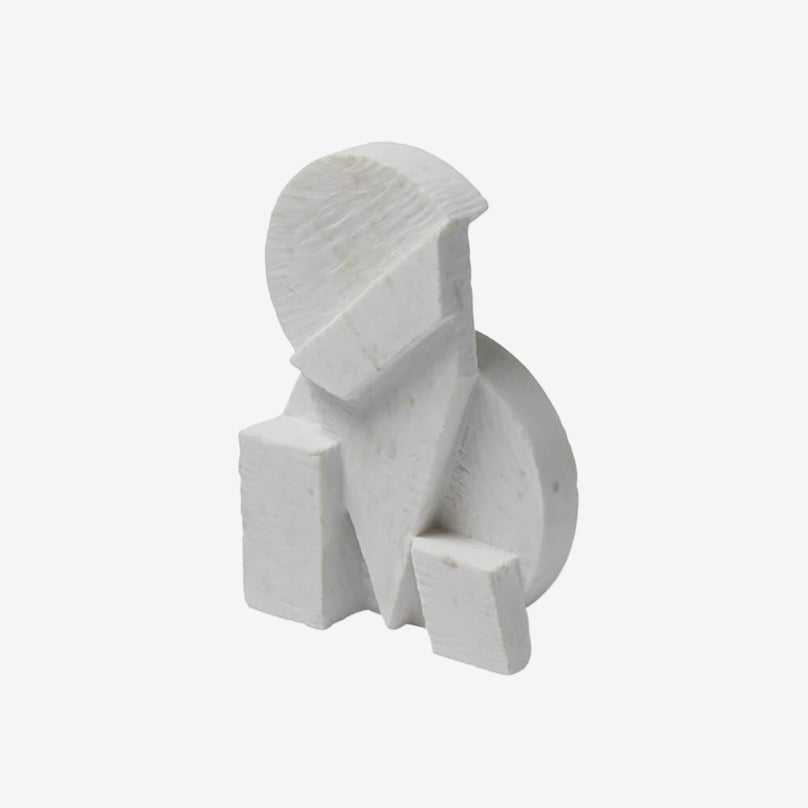 Geometric Marble Sculpture - White