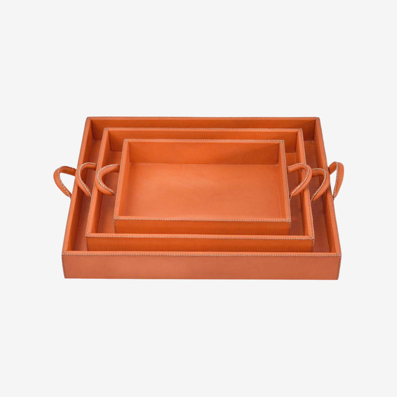 Leather Nesting Trays, Individual, Orange