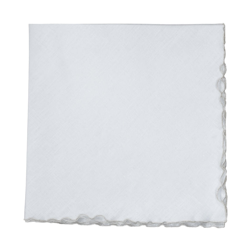 Reversible Metallic Linen Wave Edge Napkin - White/Silver