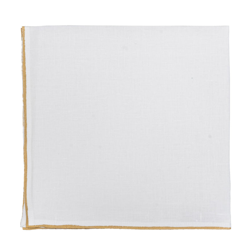 Painted Metallic Edge Linen Napkin - Ivory/Gold