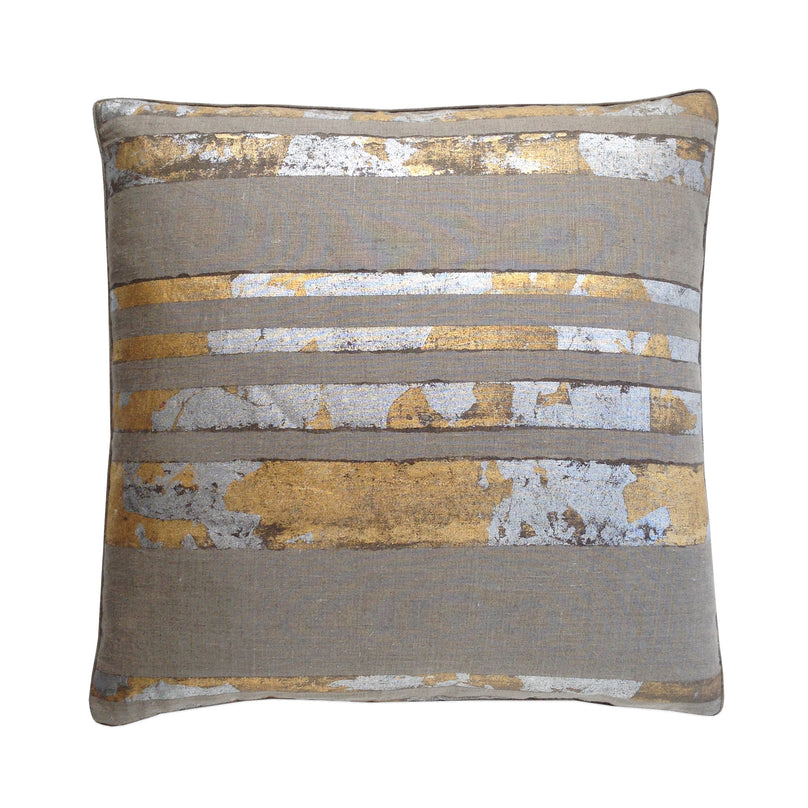 Silver and Gold Leaf Stripe Pillow