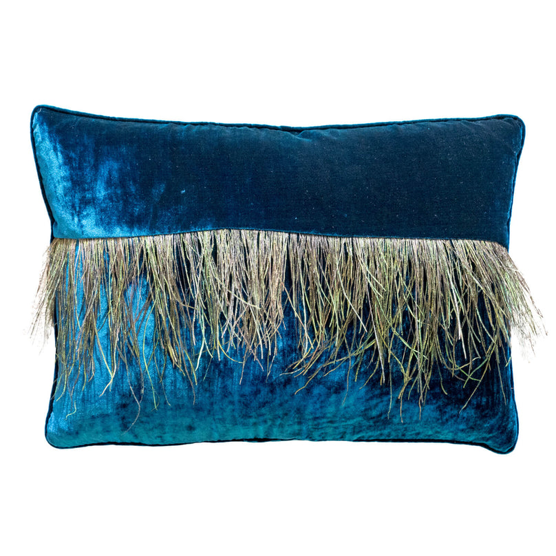 "14"" x 20"" Peacock Fringe Stripe Pillow - Teal"