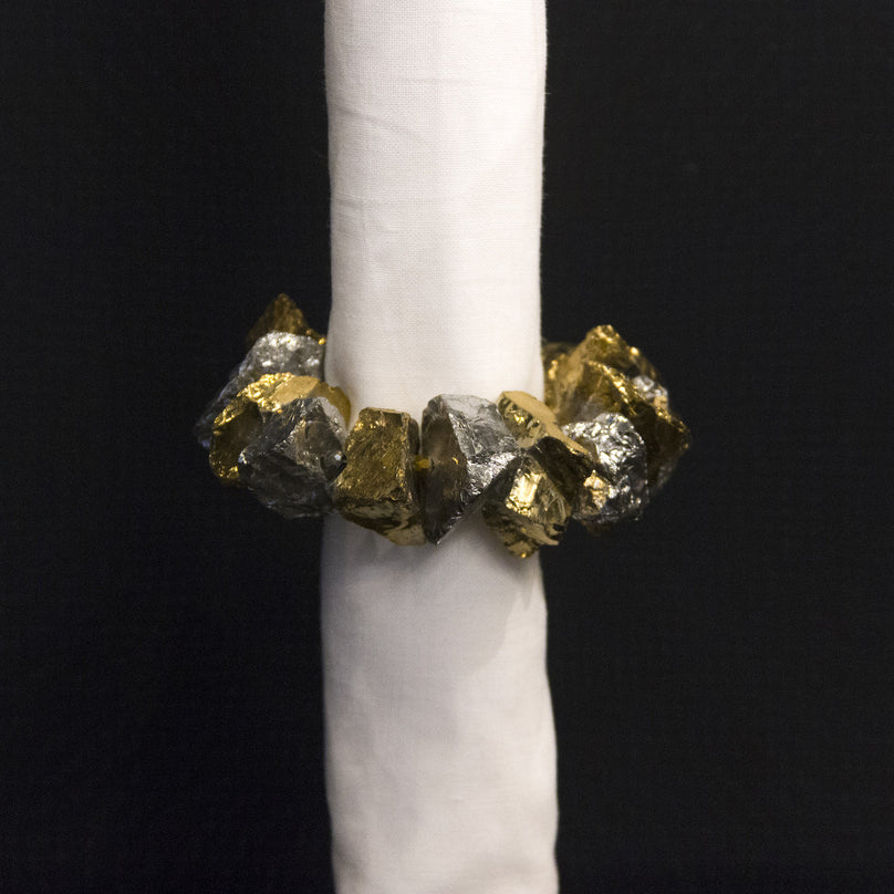 Gold/Silver Nuggets Napkin Ring