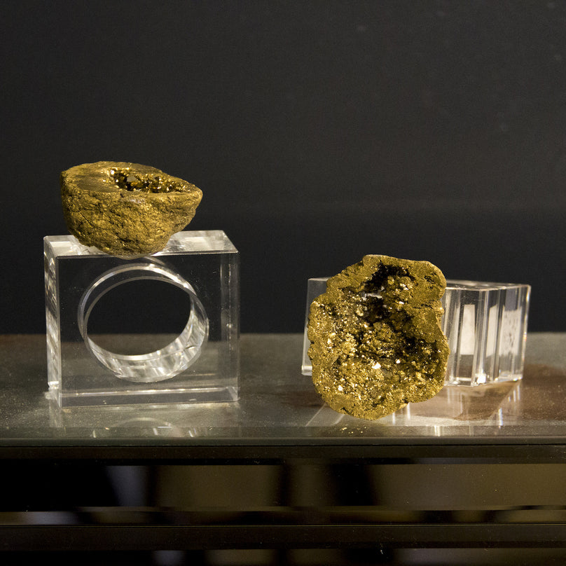 Gold Geode Napkin Ring - Pair