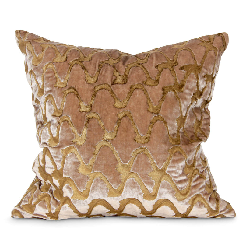 "20"" Ripple Effect Hand Painted Pillow Beige"