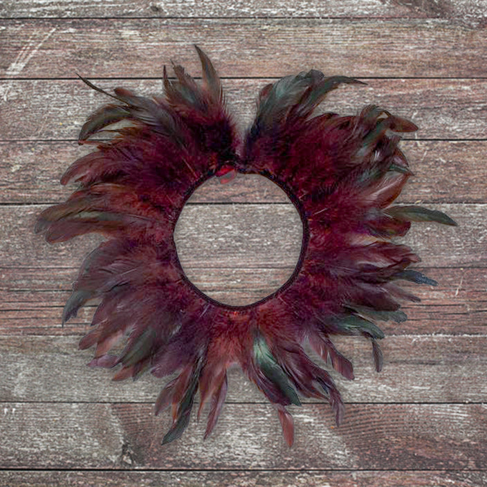 Feather Collar Necklace Burgundy