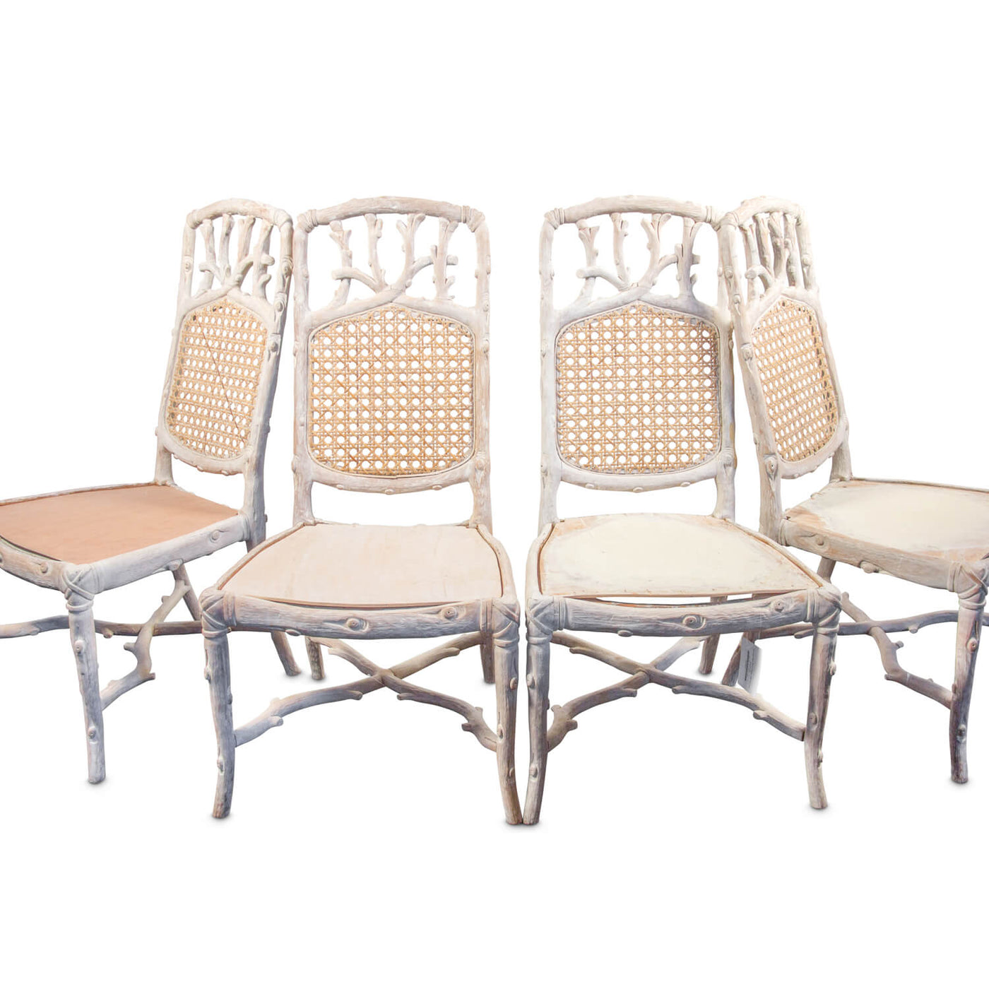 Vintage Faux Bois Chairs - Set of Four