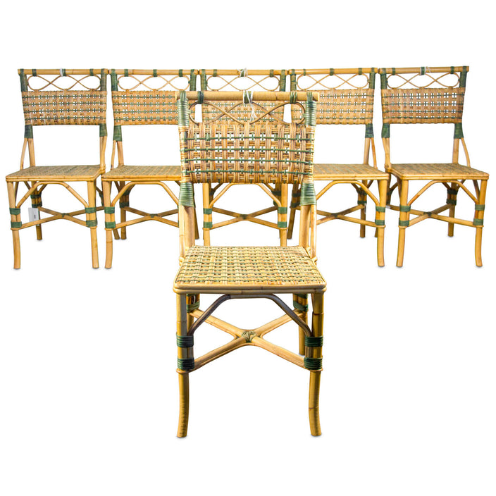 Vintage Product Charming Woven Rattan French Bistro Chair   Set Of 6