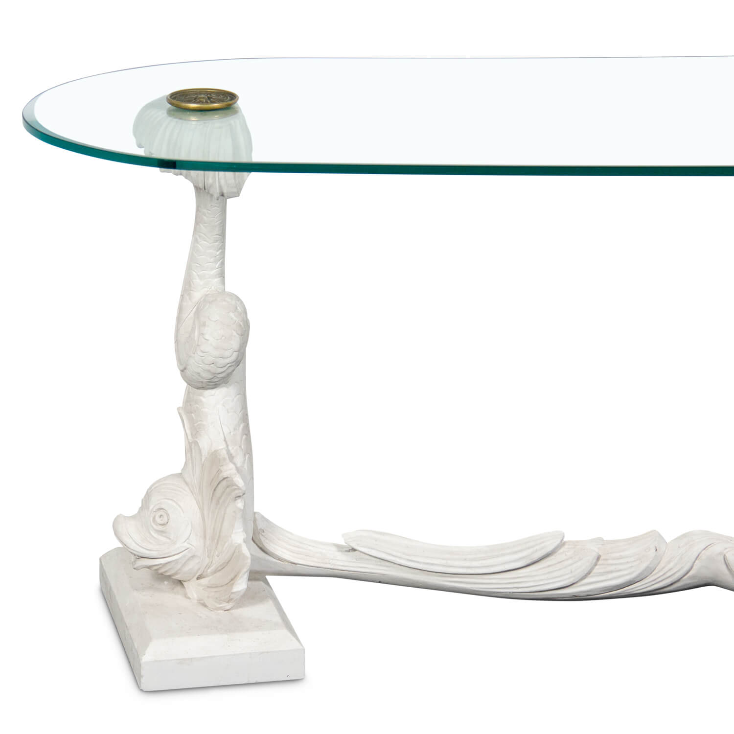 Dolphins with Glass Top Coffee Table