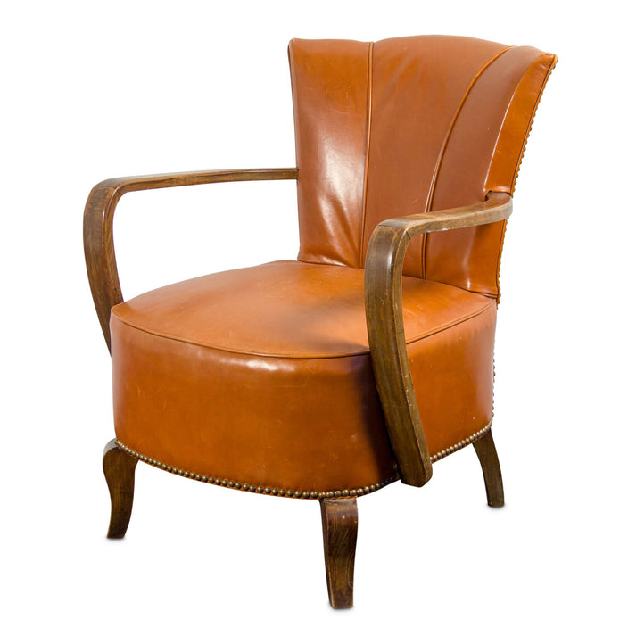 Vintage French Leather Club Chair