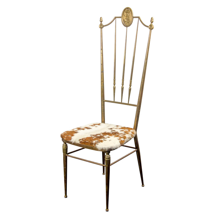 Vintage Wrought Iron Sidechair with Hide Seat