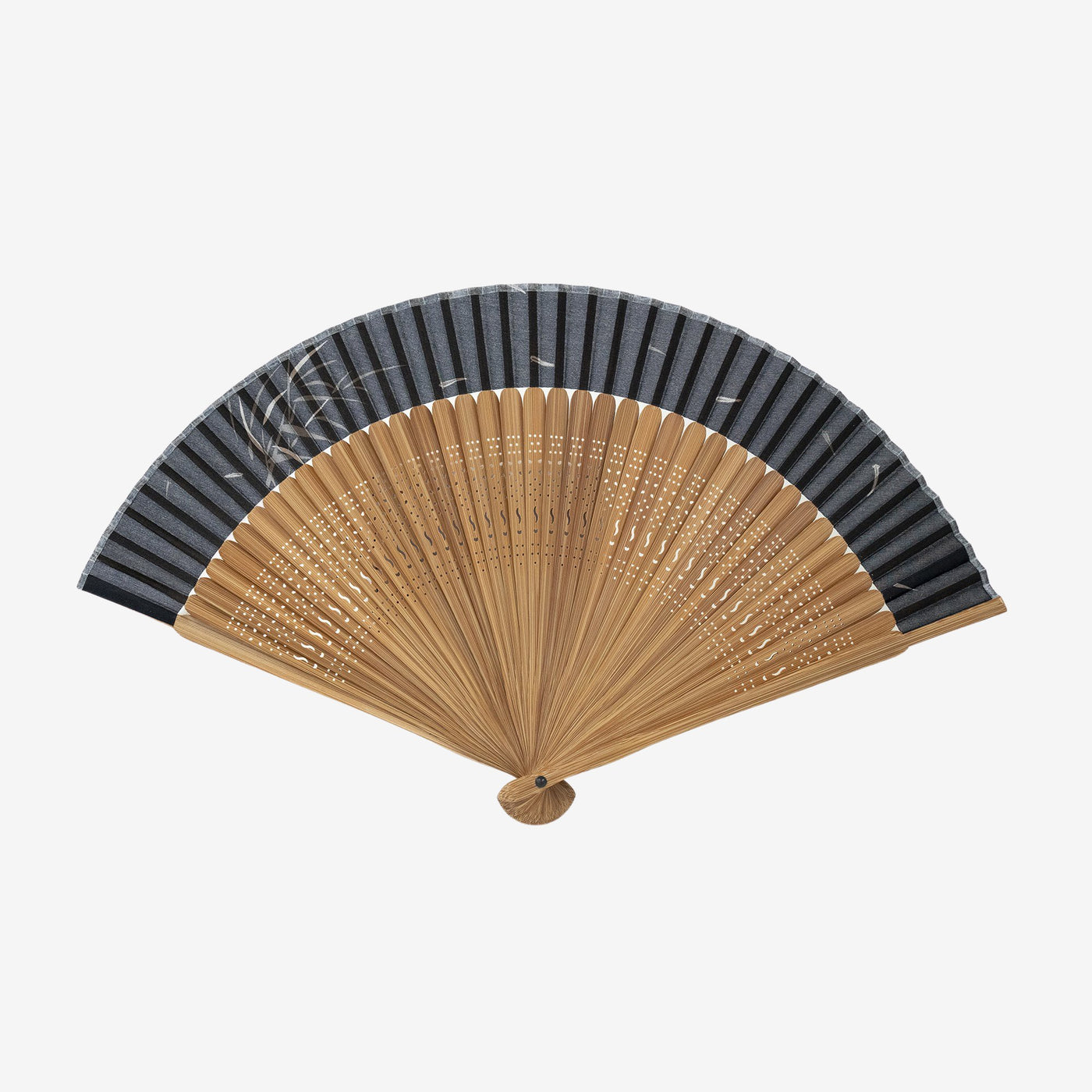 Bamboo Fan with Bag / Black Bamboo Leaves