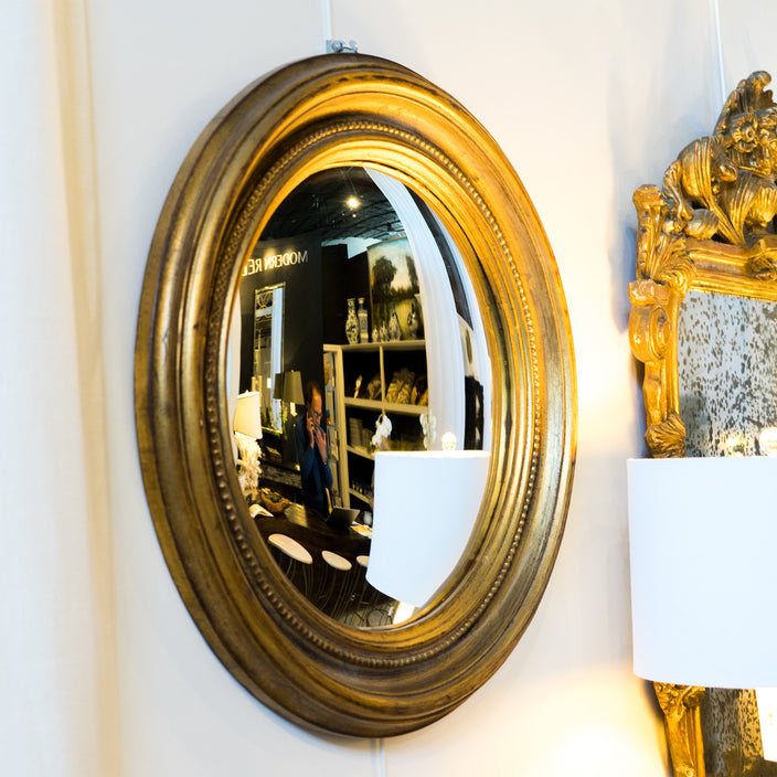 Bullseye Round Mirror with Gold Frame