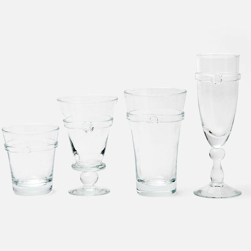 Charlotte, Clear Glass, Hand Blown, Pack/4