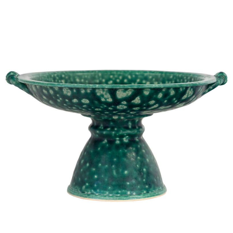 1940's Ceramic Green Dish on Stand
